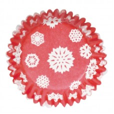 Pack of 48 Red Snowflake Printed Baking Cases