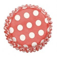 Pack of 25 Spotty Dot Cupcake Cases Red