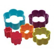 Set of 6 Plastic Flower Cookie Cutters