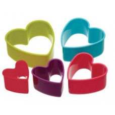Set of 5 Plastic Heart Cookie Cutters