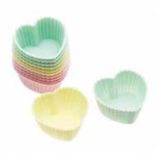Pack Of 12 Heart Shaped Silcone Sweet/Baking Cases