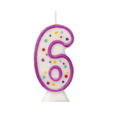 Number 6 - moulded purple candle