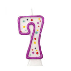 Number 7 - moulded purple candle