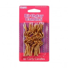 20 Gold Curly Candles
