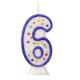 Number 6 - moulded blue candle